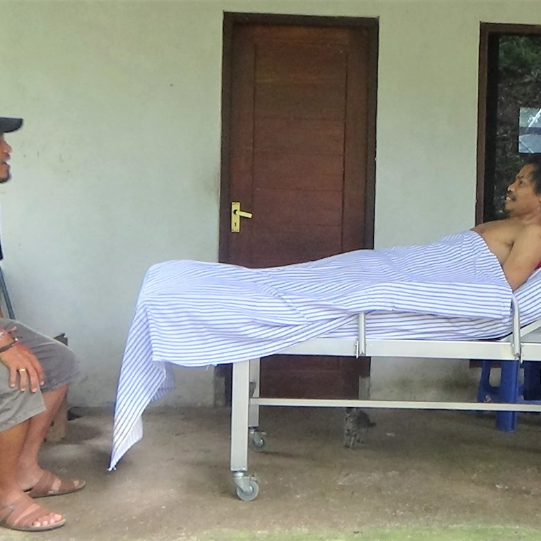 A new bed on wheels for Pak Ketut