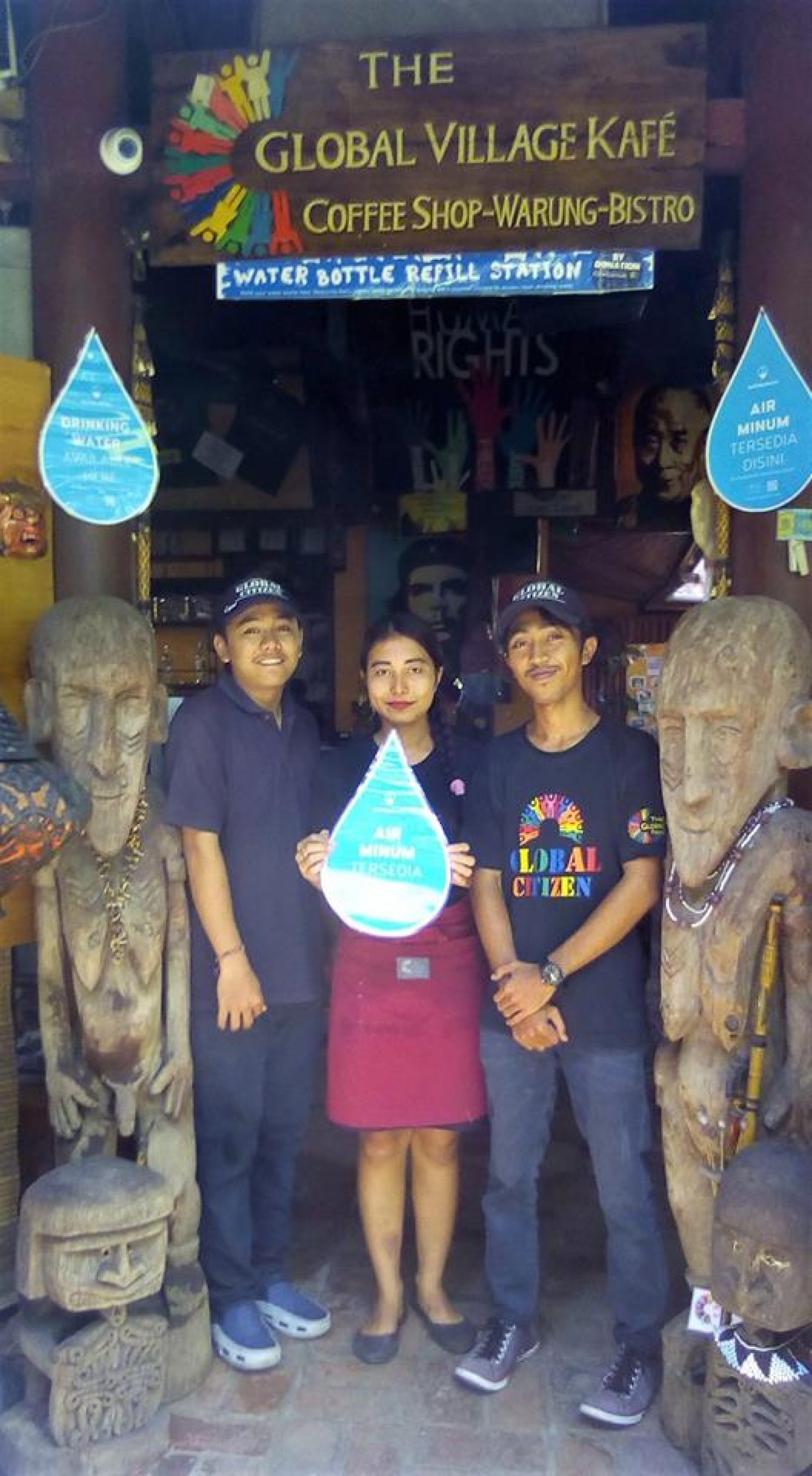 Global Village Kafe in Lovina, Now an official Water Bottle Refill station