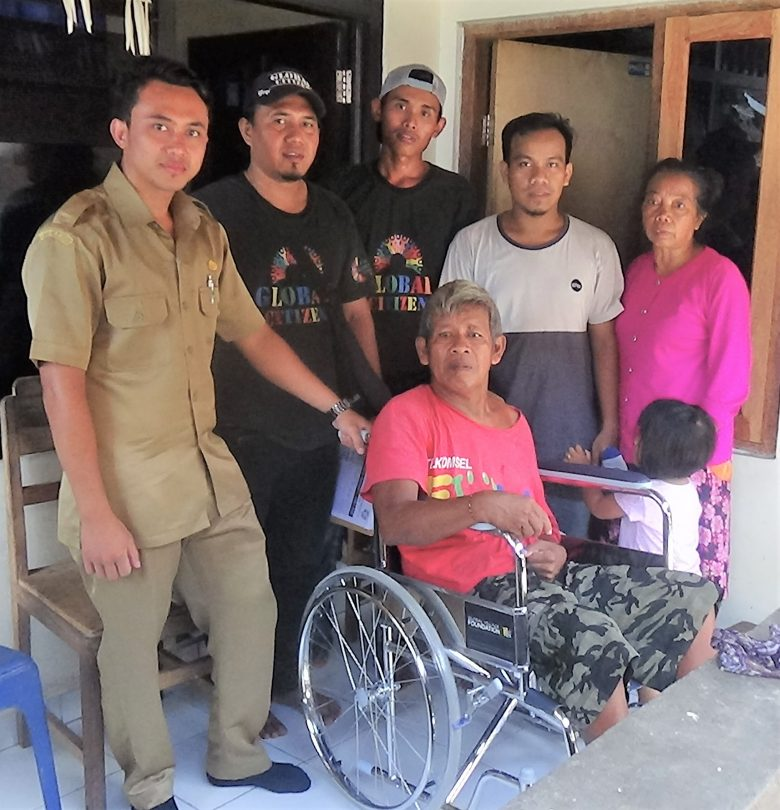 Fifty New Wheel Chairs distributed to Disabled people in North Bali